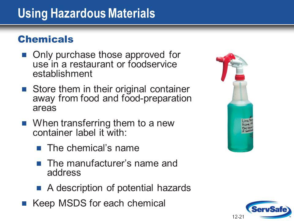 Using Hazardous Materials