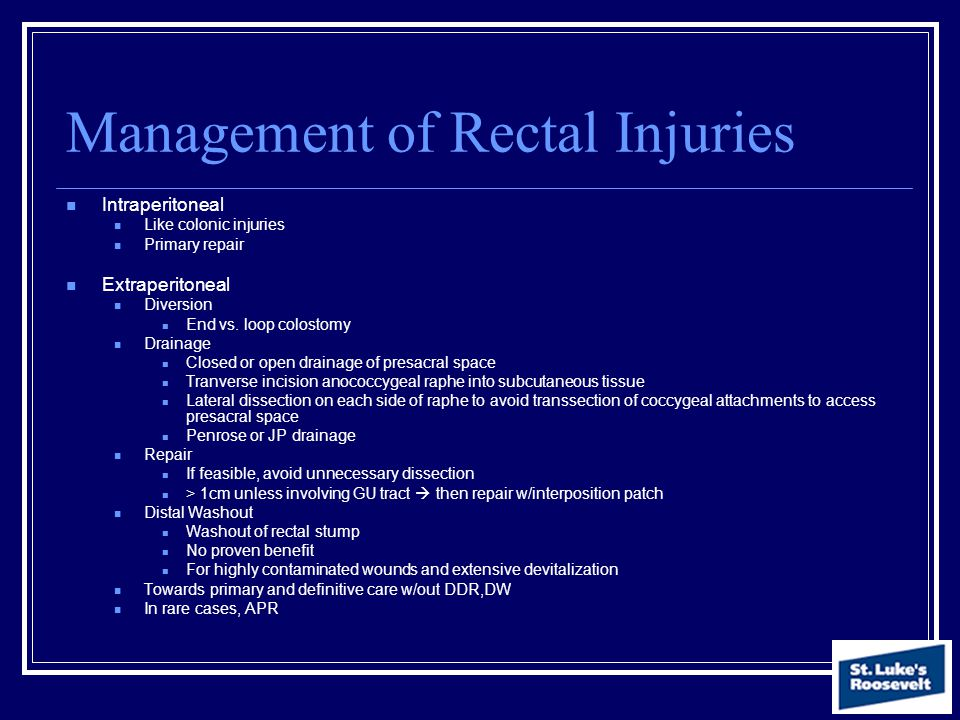 Management of Rectal Injuries