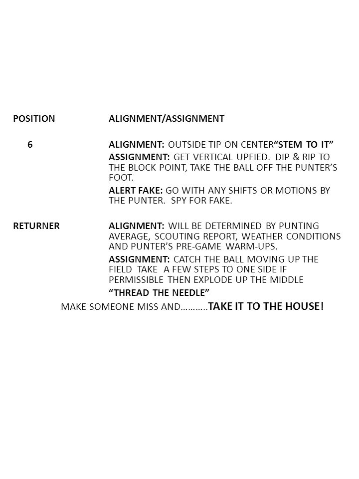 POSITION ALIGNMENT/ASSIGNMENT