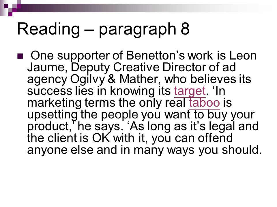 Reading – paragraph 8