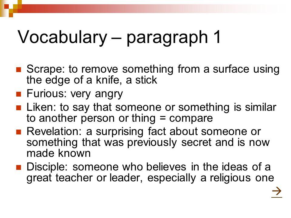 Vocabulary – paragraph 1