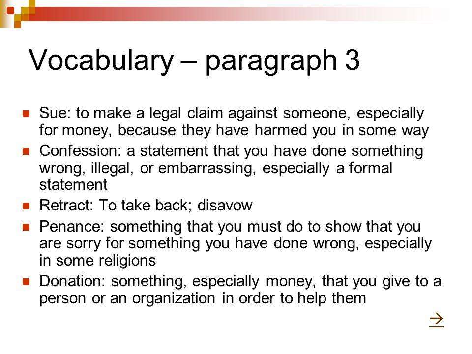 Vocabulary – paragraph 3