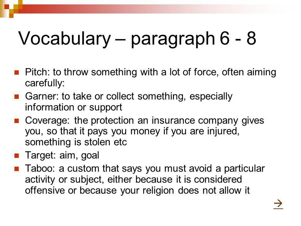 Vocabulary – paragraph 6 - 8