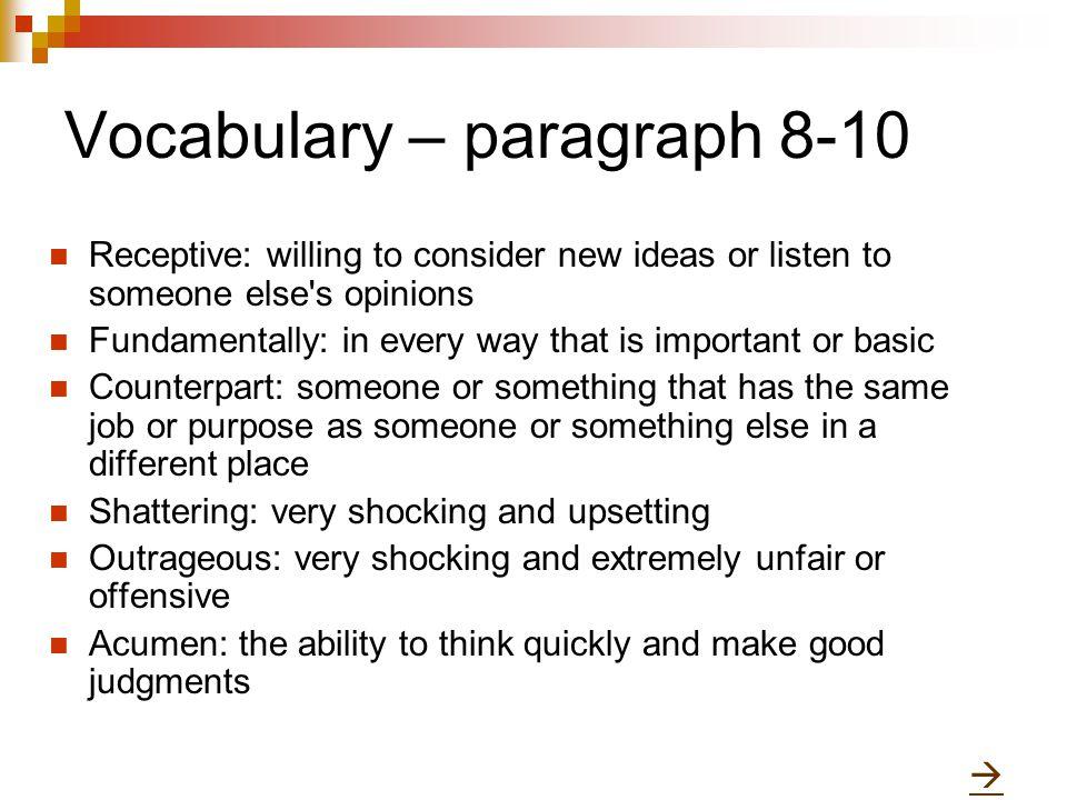 Vocabulary – paragraph 8-10
