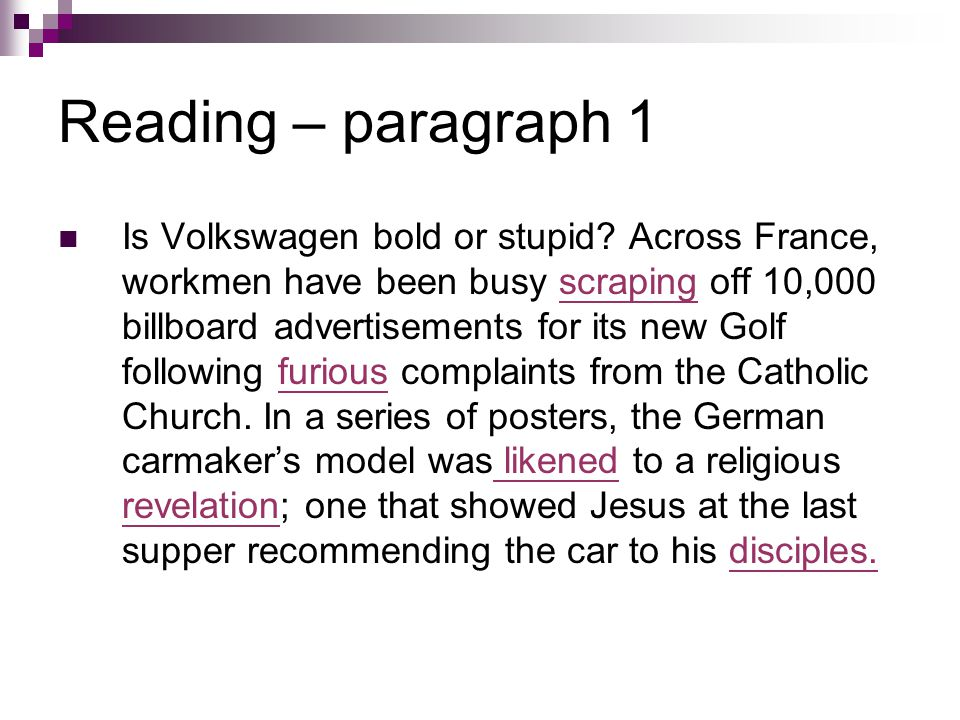 Reading – paragraph 1