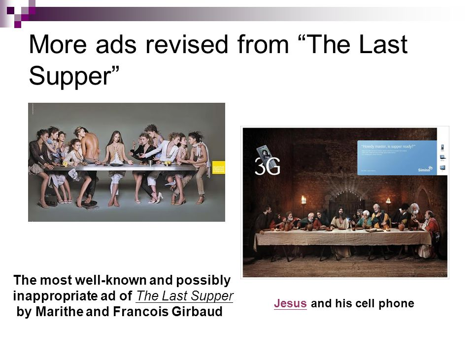 More ads revised from The Last Supper