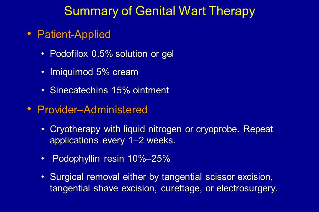 Summary of Genital Wart Therapy