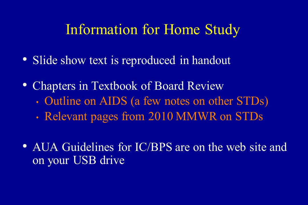 Information for Home Study