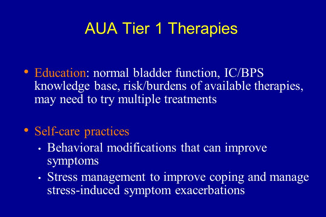 AUA Tier 1 Therapies