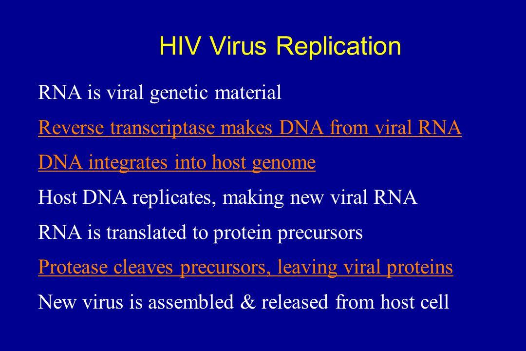 HIV Virus Replication RNA is viral genetic material