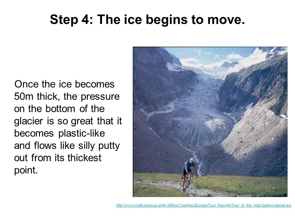 Step 4: The ice begins to move.