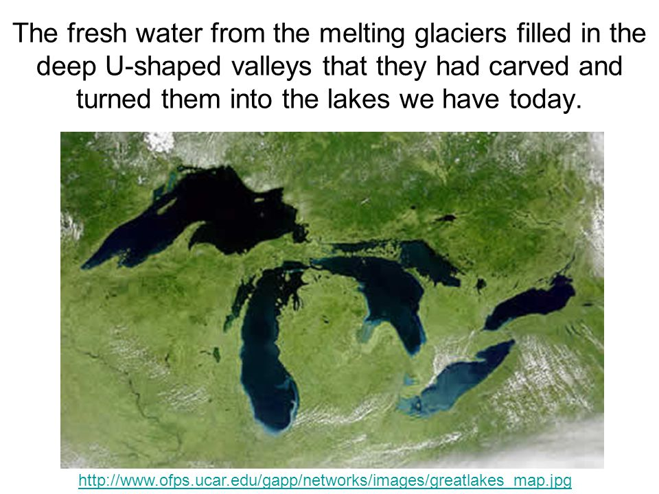 The fresh water from the melting glaciers filled in the deep U-shaped valleys that they had carved and turned them into the lakes we have today.