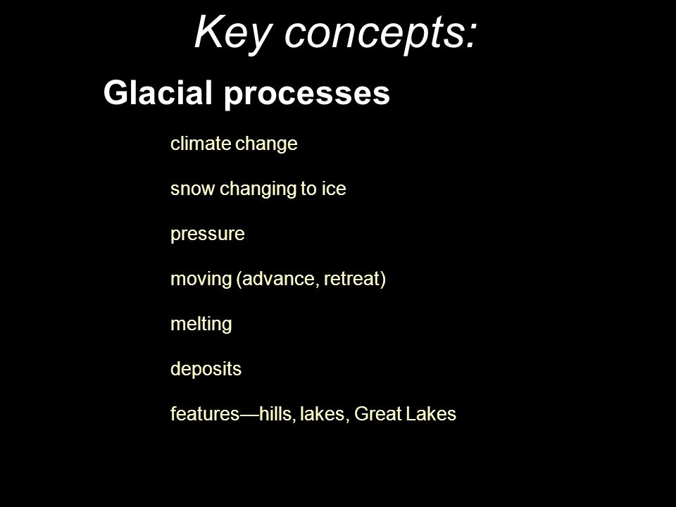 Key concepts: Glacial processes snow changing to ice pressure