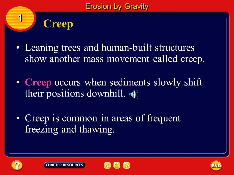 Erosion by Gravity 1. Creep. Leaning trees and human-built structures show another mass movement called creep.