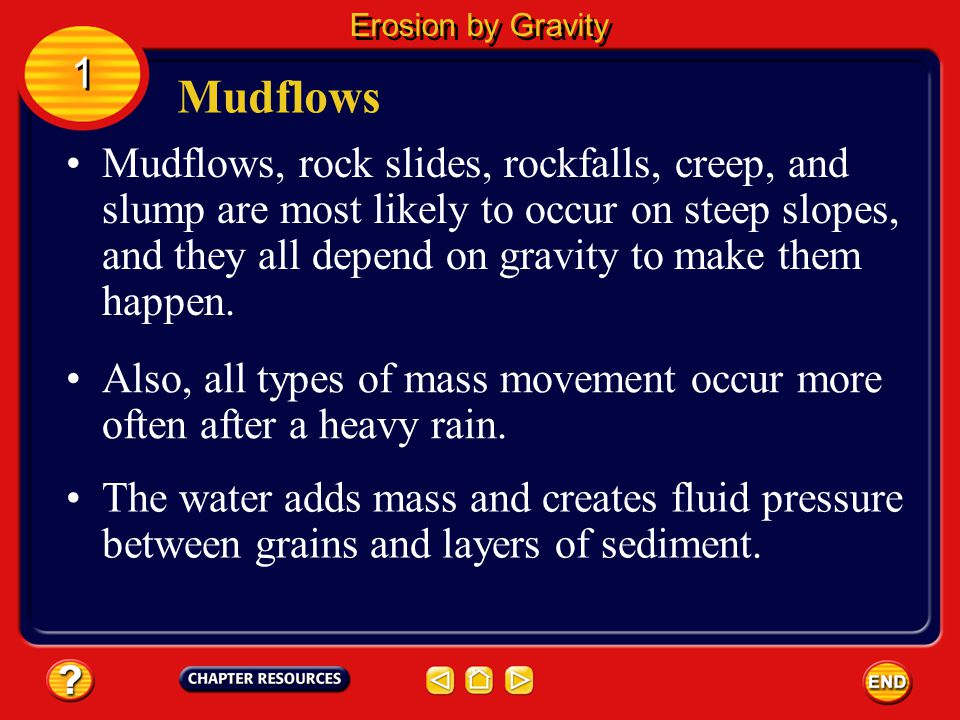 Erosion by Gravity 1. Mudflows.