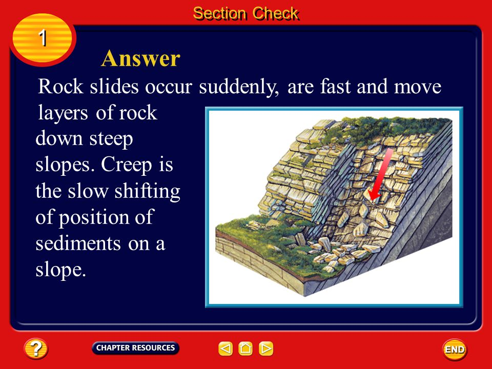 Answer 1 Rock slides occur suddenly, are fast and move layers of rock