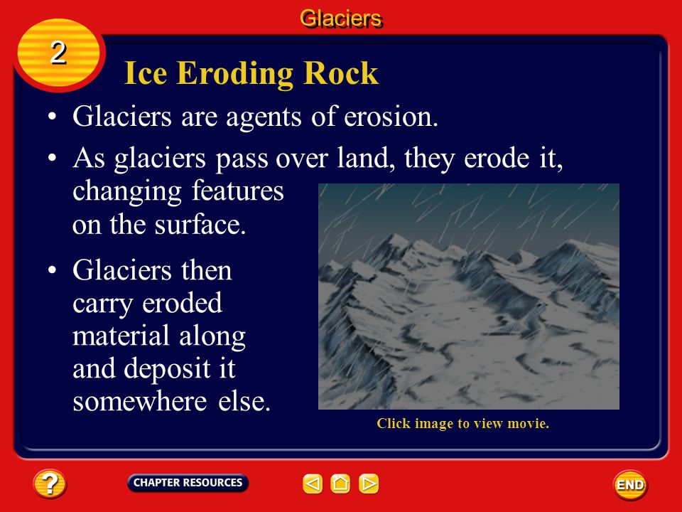 Ice Eroding Rock 2 Glaciers are agents of erosion.