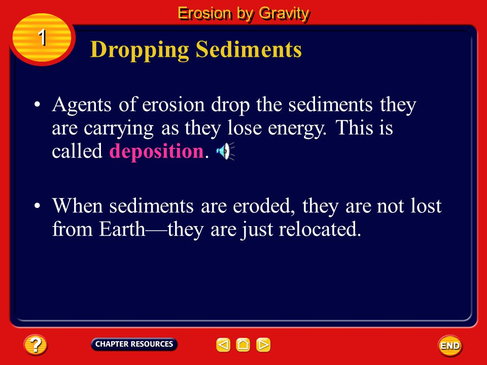 Erosion by Gravity 1. Dropping Sediments. Agents of erosion drop the sediments they are carrying as they lose energy. This is called deposition.