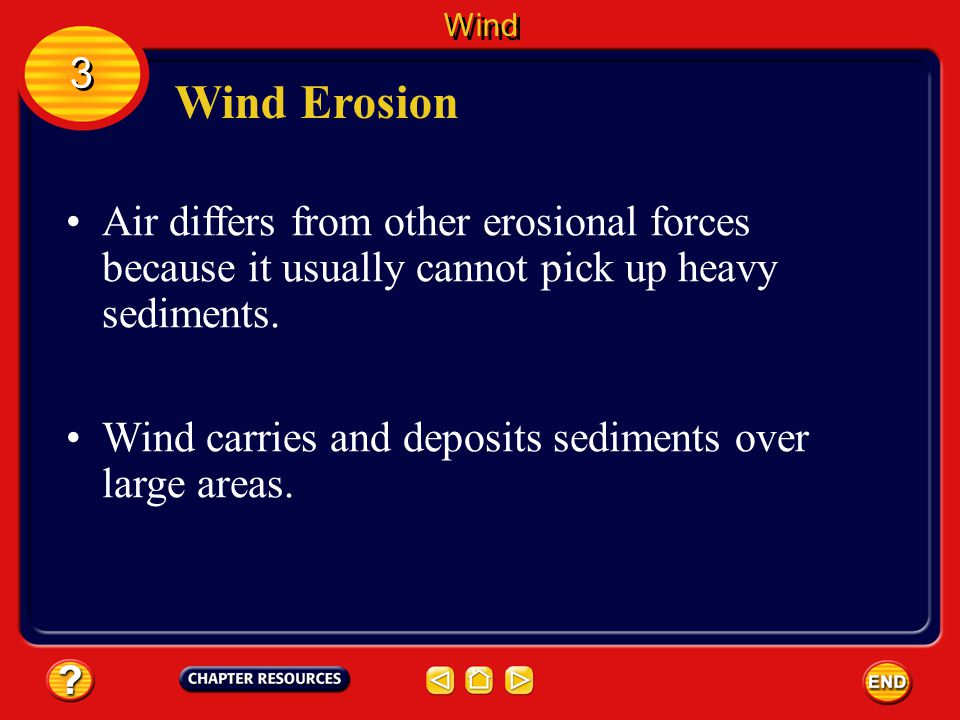 Wind 3. Wind Erosion. Air differs from other erosional forces because it usually cannot pick up heavy sediments.