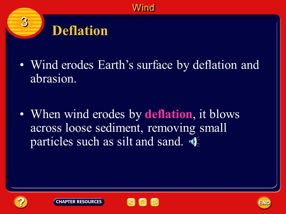 Deflation 3 Wind erodes Earth's surface by deflation and abrasion.
