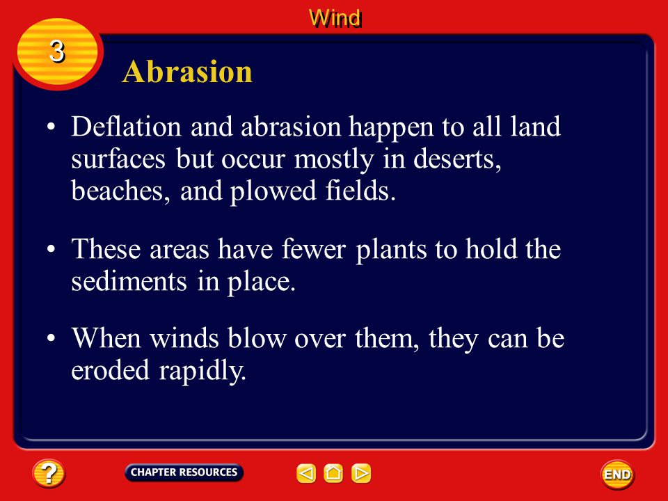 Wind 3. Abrasion. Deflation and abrasion happen to all land surfaces but occur mostly in deserts, beaches, and plowed fields.