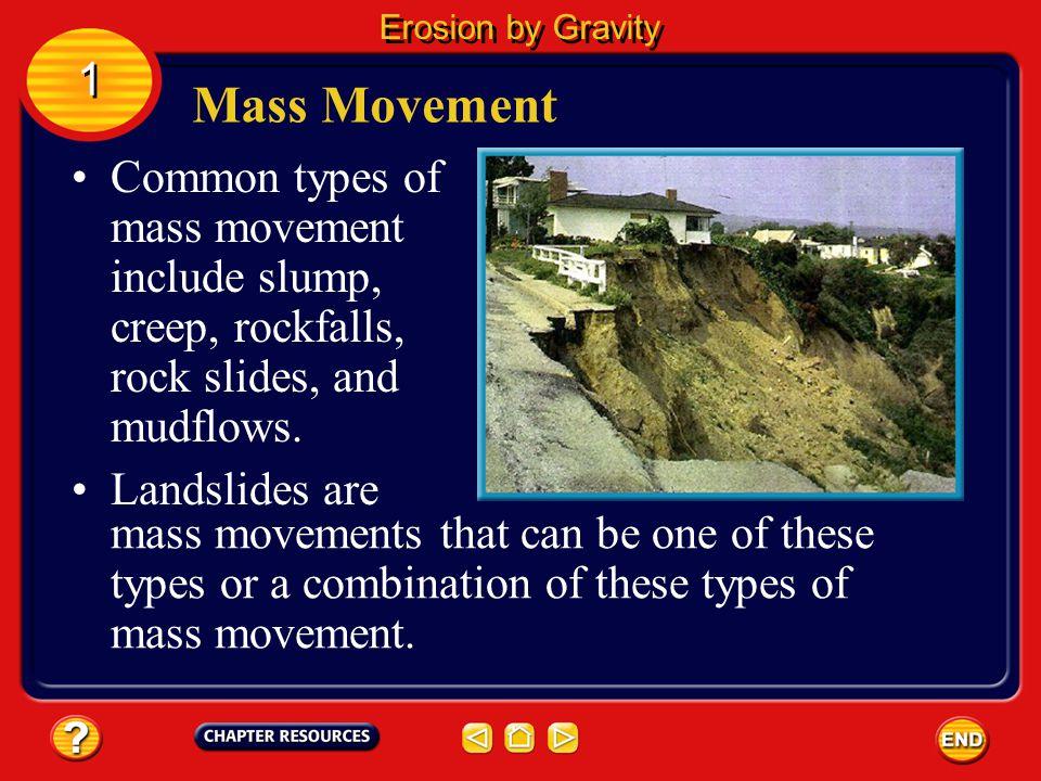 Erosion by Gravity 1. Mass Movement. Common types of mass movement include slump, creep, rockfalls, rock slides, and mudflows.