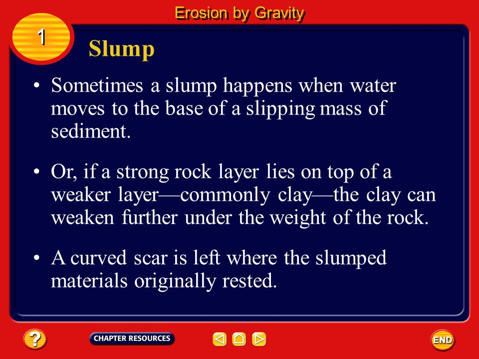 Erosion by Gravity 1. Slump. Sometimes a slump happens when water moves to the base of a slipping mass of sediment.
