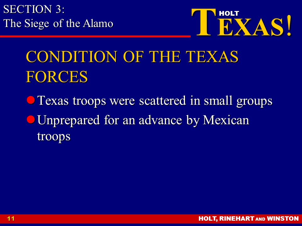 CONDITION OF THE TEXAS FORCES