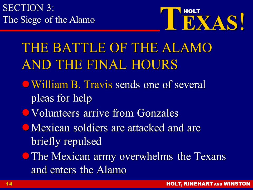 THE BATTLE OF THE ALAMO AND THE FINAL HOURS