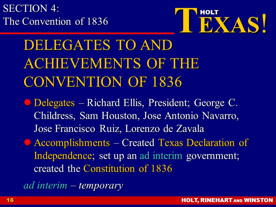 DELEGATES TO AND ACHIEVEMENTS OF THE CONVENTION OF 1836