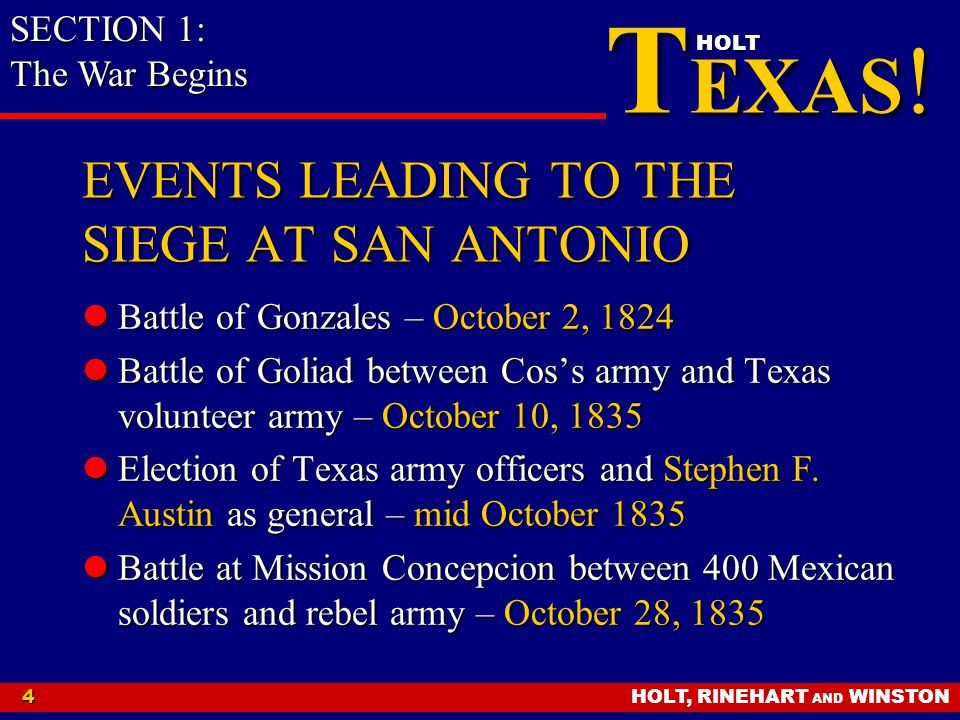 EVENTS LEADING TO THE SIEGE AT SAN ANTONIO