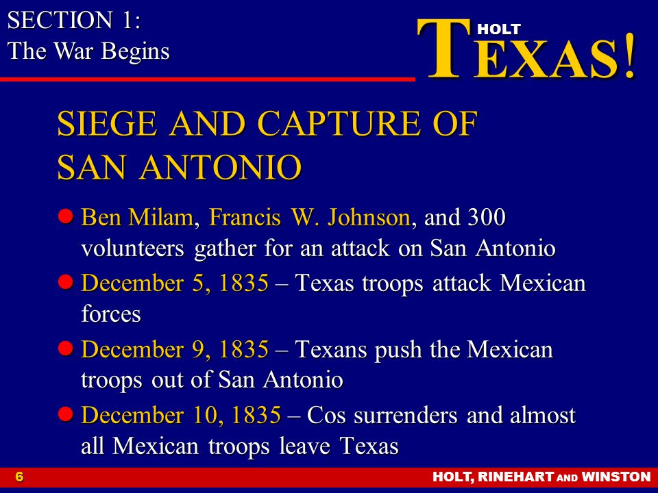 SIEGE AND CAPTURE OF SAN ANTONIO