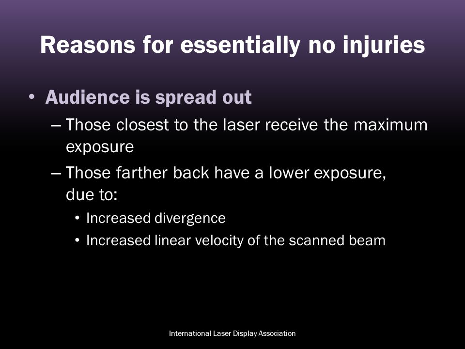 Reasons for essentially no injuries