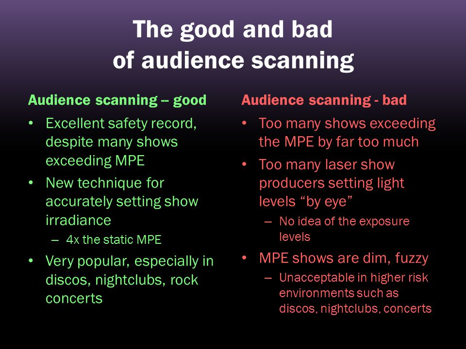 The good and bad of audience scanning