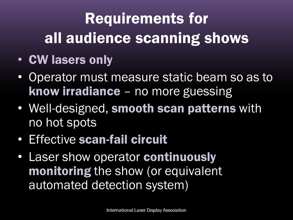 Requirements for all audience scanning shows
