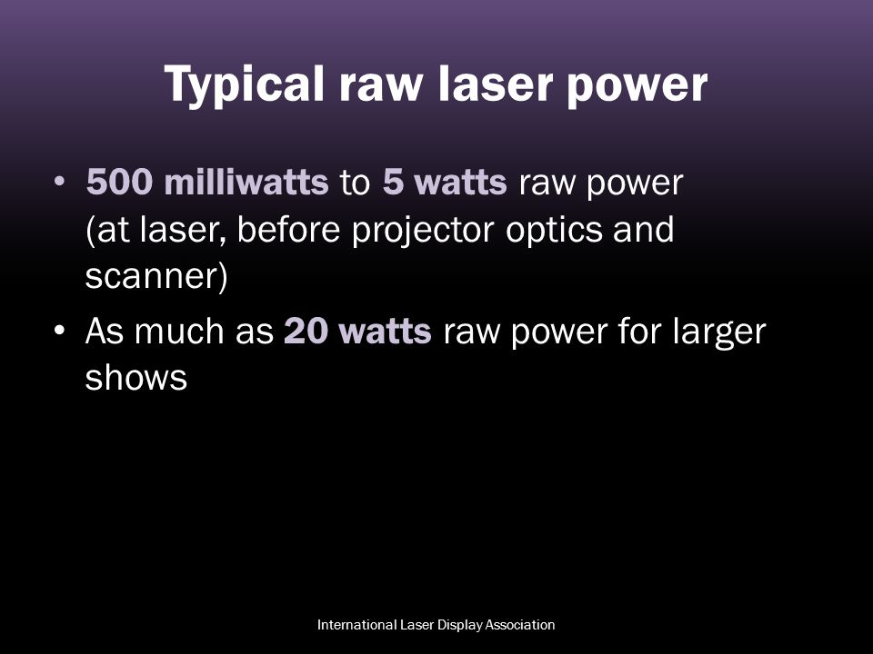 Typical raw laser power
