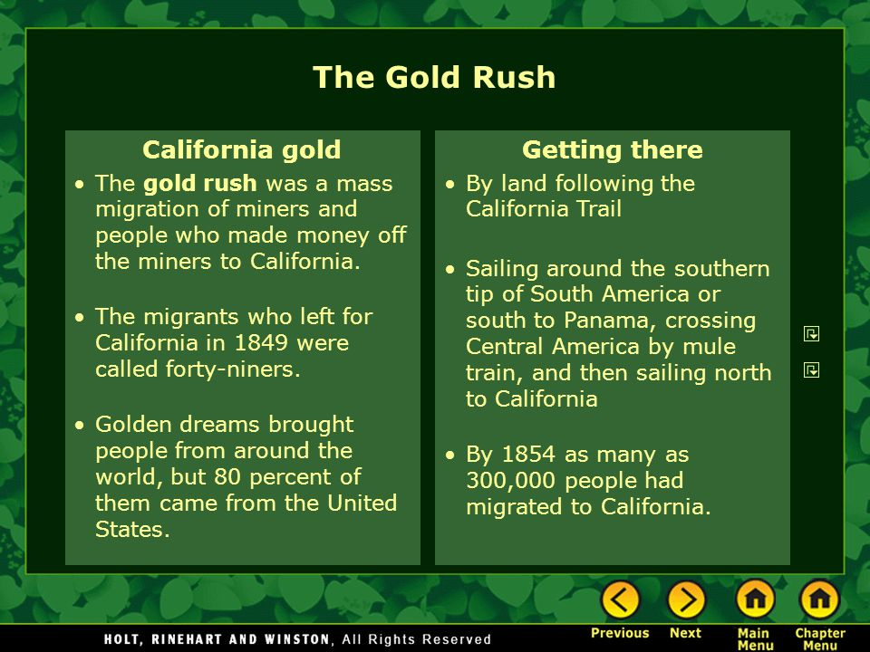 The Gold Rush California gold Getting there