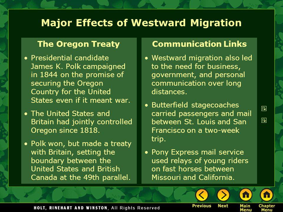 Major Effects of Westward Migration