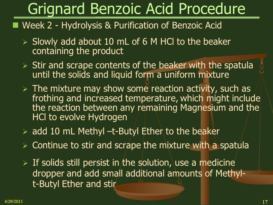 Grignard Benzoic Acid Procedure