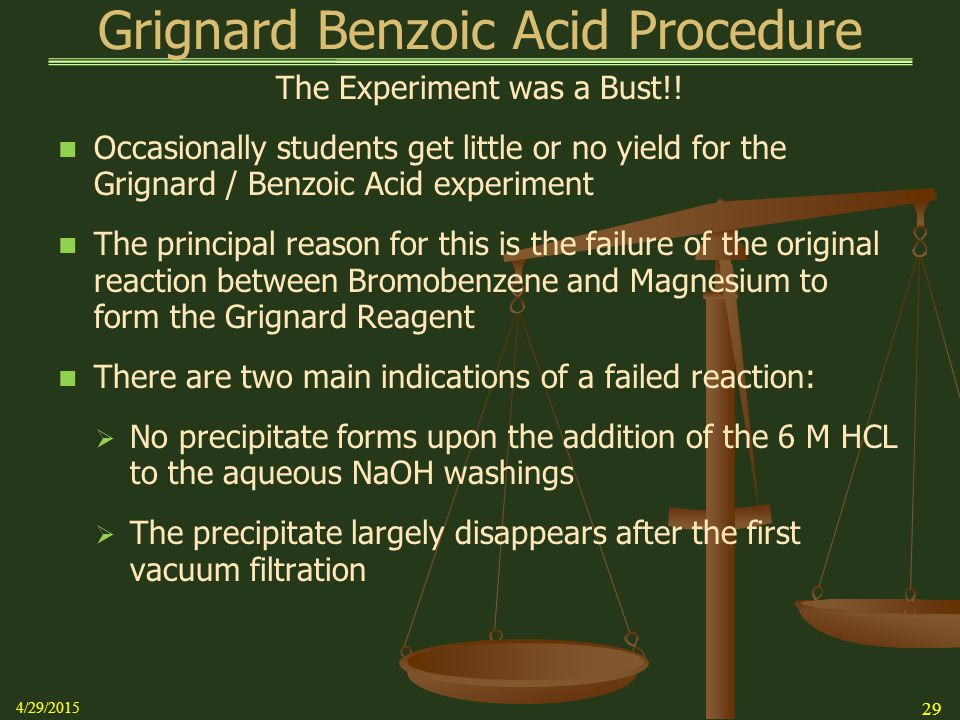 grignard reaction preparation of benzoic acid lab report This many moles of benzoic acid weighs: (00286 moles)(12212 g/mole ba)= 349 g i would suggest using bottled carbon dioxide instead of dry ice in the reaction water crystals condense on the surface of the dry ice and this reacts with the grignard reagent very rapidly.