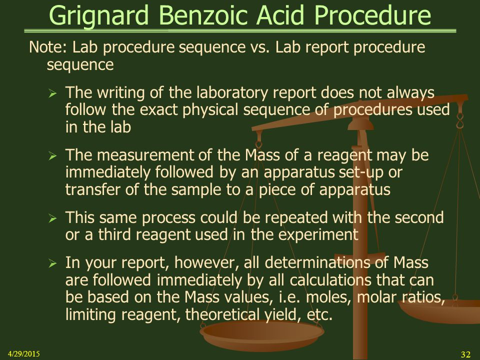 grignard synthesis of benzoic acid Synthesis of benzoic acid using a grignard reagent and dry ice with an acidic documents similar to grignard reagent lab report skip carousel.