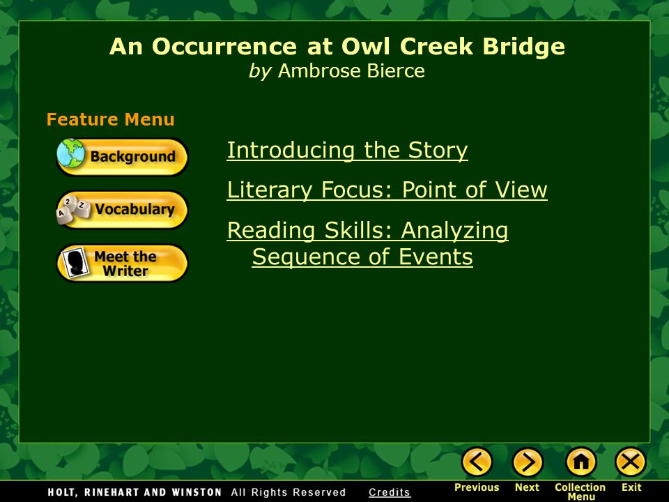 "an occurrence at owl creek bridge critical essay ""an occurrence at owl creek bridge"" by ambrose bierce, is a short story with a unique plot twist ambrose bierce uses time as a way."