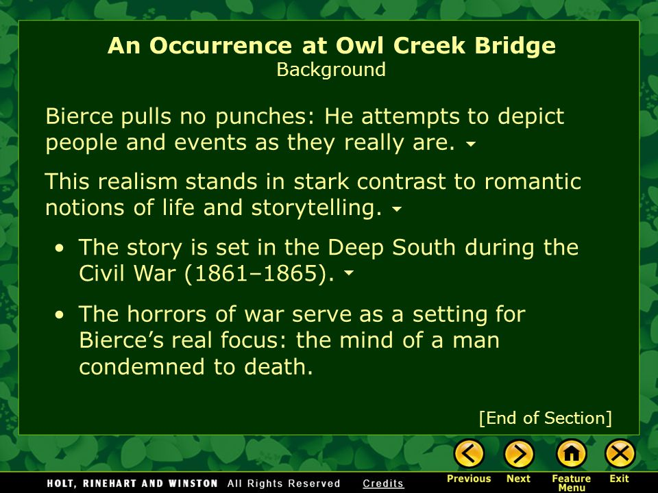 An Occurrence at Owl Creek Bridge Background