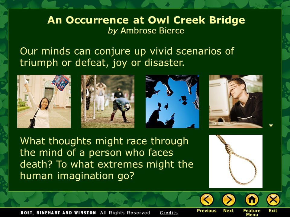 the occurrence at owl creek bridge An occurrence at owl creek bridgepdf - download as pdf file (pdf), text file (txt) or read online.