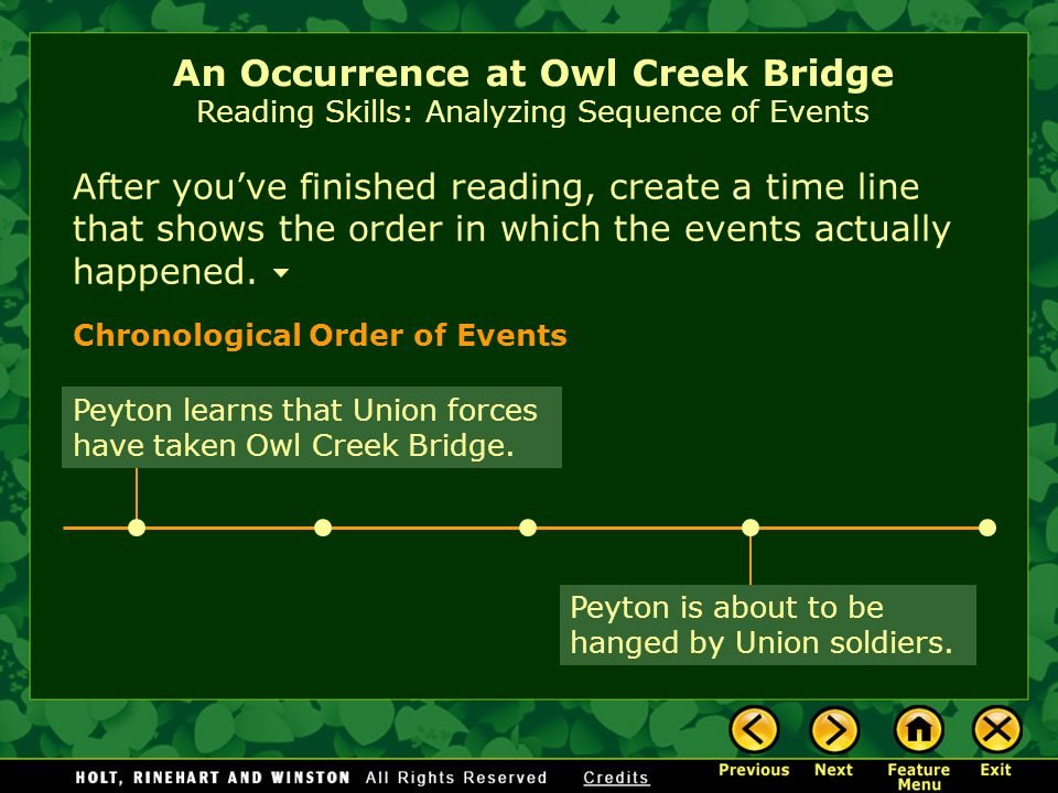 occurrence at owl creek bridge Home → sparknotes → short story study guides → an occurrence at owl creek bridge an occurrence at owl creek bridge ambrose bierce table of contents.