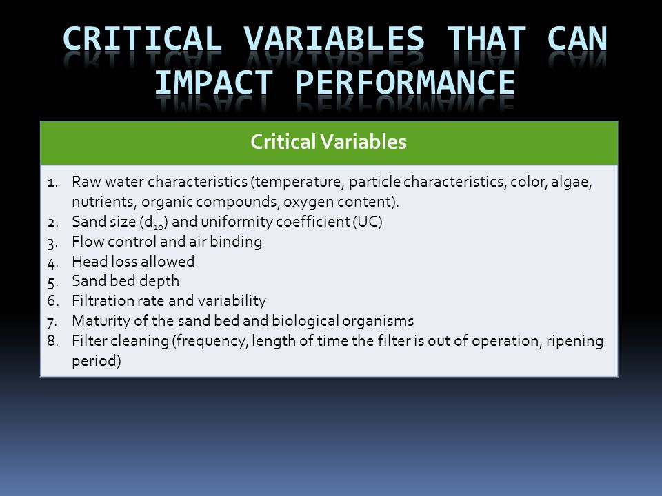 Critical Variables That can impact Performance