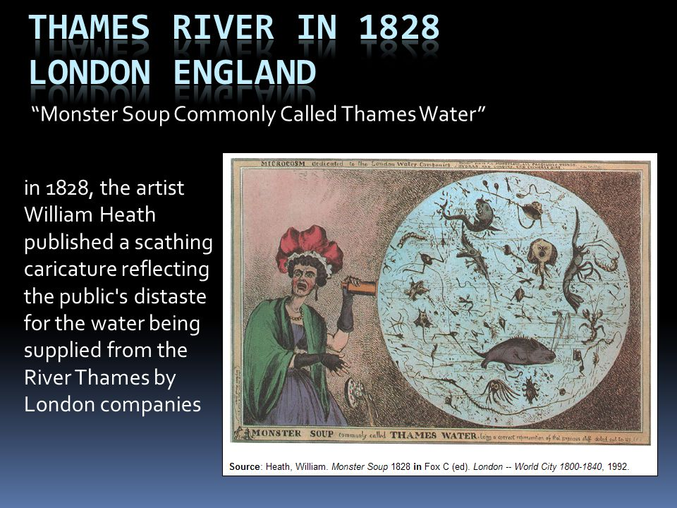 Thames River in 1828 London England