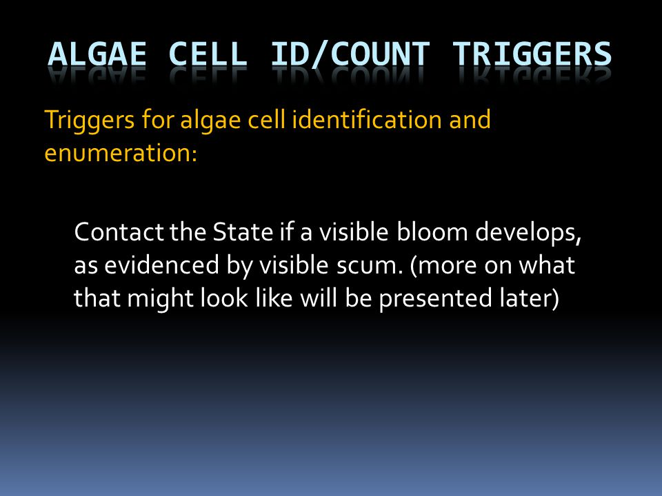 Algae Cell ID/Count Triggers