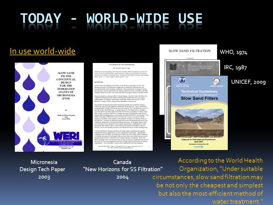 Today - World-Wide Use In use world-wide WHO, 1974
