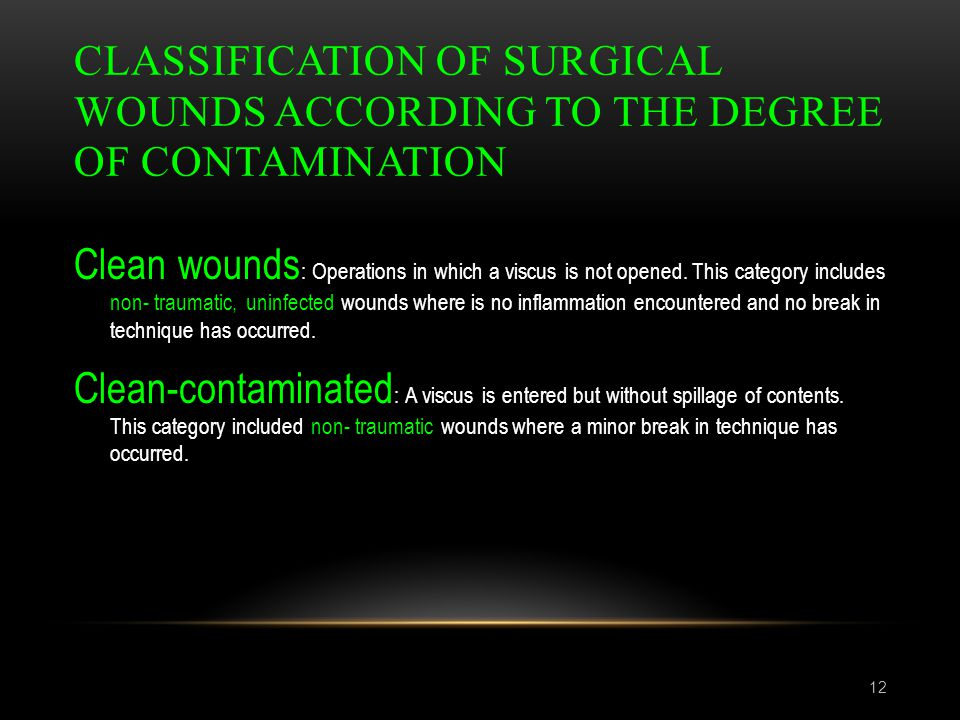 Classification of surgical wounds according to the degree of contamination